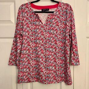 JONES NEW YORK pink floral v-neck 3/4 sleeve top